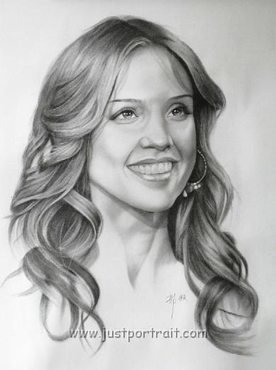 Commission Custom Charcoal Portrait Drawings, Jessica Alba Custom BW Portrait