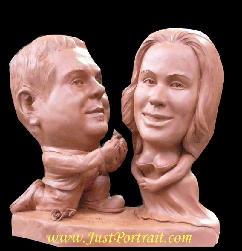 personalized caricature bust, couple