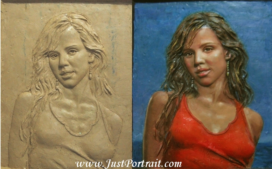 custom bas relief portrait in progress, original clay and color finished