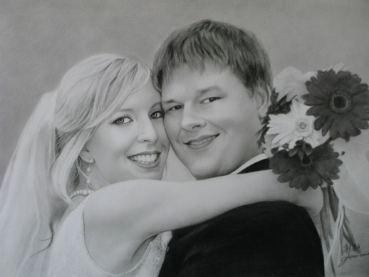 Custom Charcoal Wedding portraits, personalized custom engagement portraits or anniversary portraits, from photos