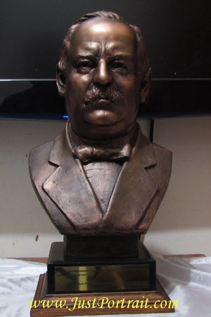 Life size bust of ex President Grover Cleveland for sale, resin bust with bronze effec
