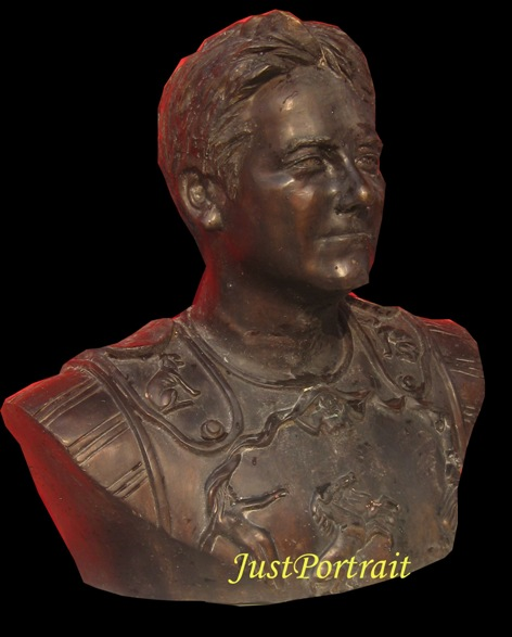 Custom portrait urn, bronze, one-piece, shoulder cavity