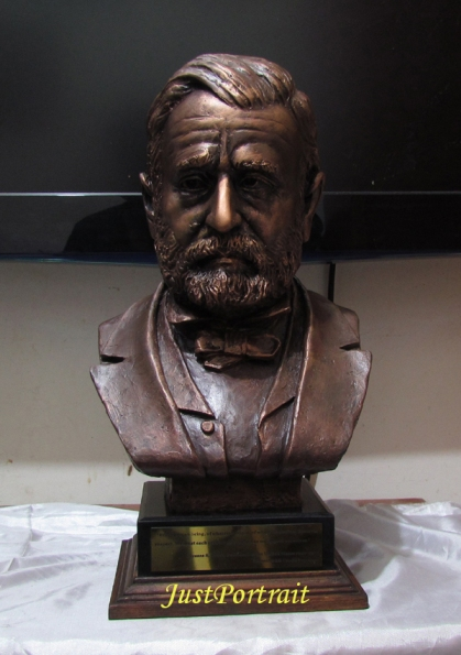 Life size bust of ex President Ulysses Grant for sale, resin bust with bronze effec