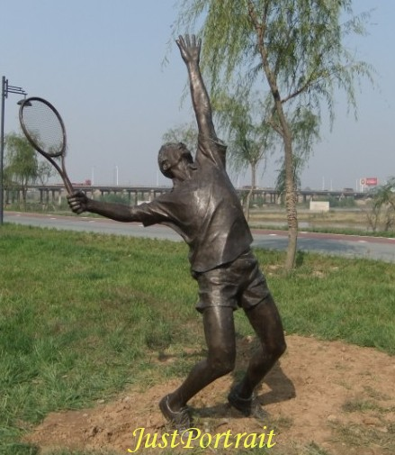 Custom bronze statue (life size) of tennis player, outdoor