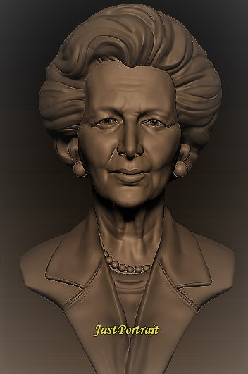 Affordable custom digital bust sculpture, 3D digital sculpture of Magaret Thatcher
